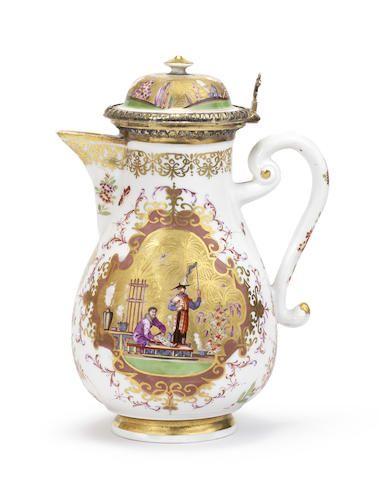 A rare Meissen silver-gilt-mounted coffee pot and cover, circa 1726-28