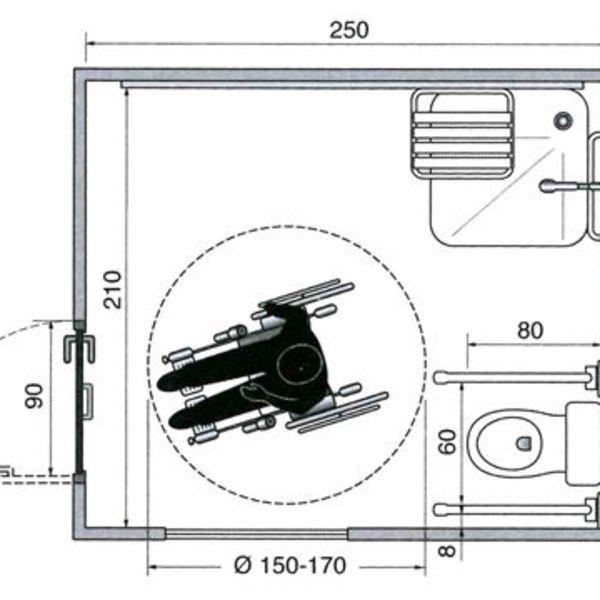 Les plans d 39 une salle de bains am nag e pour un fauteuil for Plan de douche et toilette