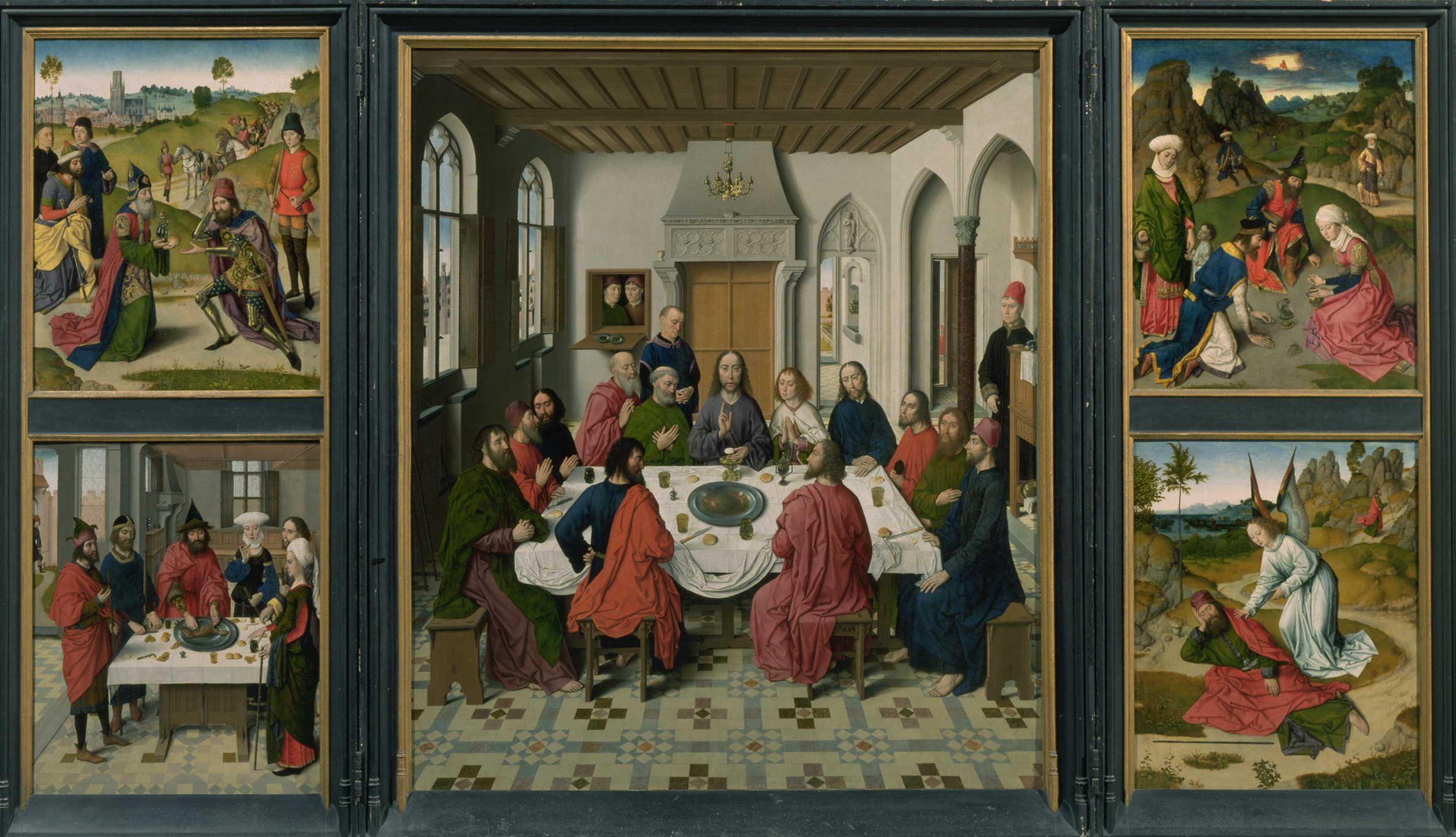Het Laatste Avondmaal (middenpaneel van drieluik) - Dirk Bouts (1464)