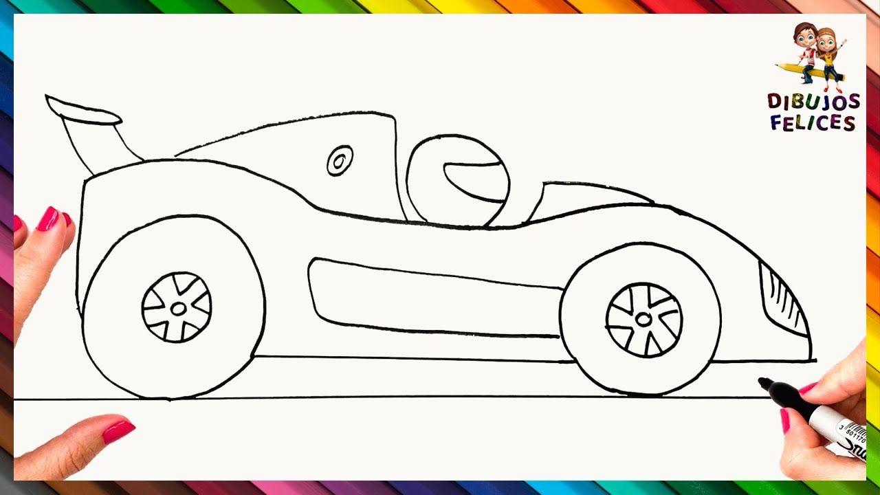 Como Dibujar Un Coche De Carreras Paso A Paso Dibujo Facil De Coche D Coches De Carreras Como Dibujar Coches Carreras De Autos