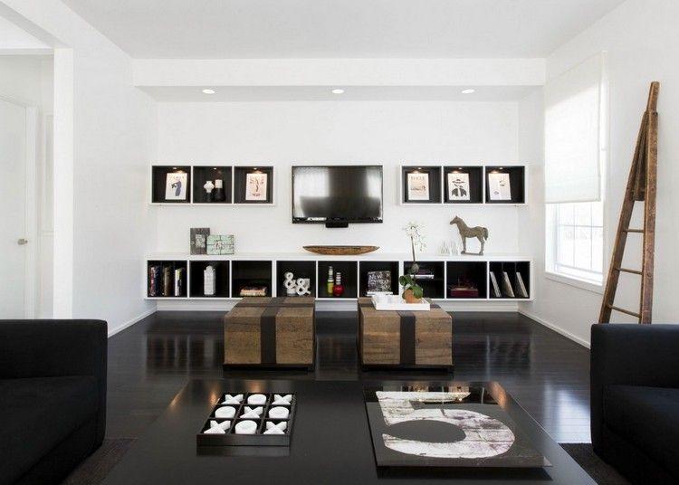 Salon noir et blanc et salon gris en 50 photos remarquables M