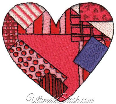 Patchwork Heart 2 95 X 2 68 Machine Embroidery Design Embroidery Designs Machine Embroidery Designs Patchwork Heart