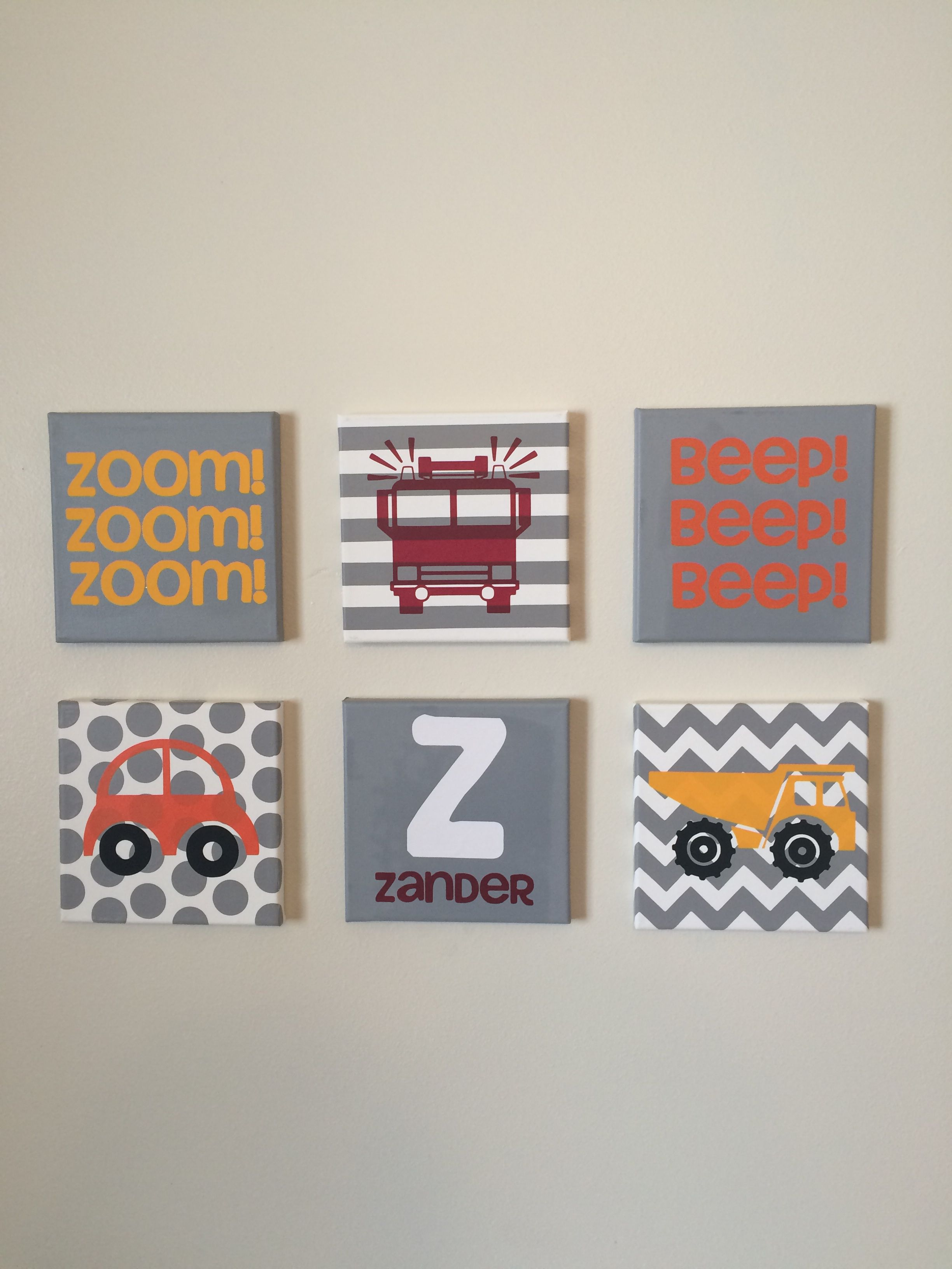 Little boys room wall art trucks and cars grey red and yellow