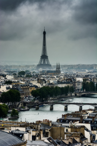 Stormy weather in Paris. The Eiffel Tower looks amazing.