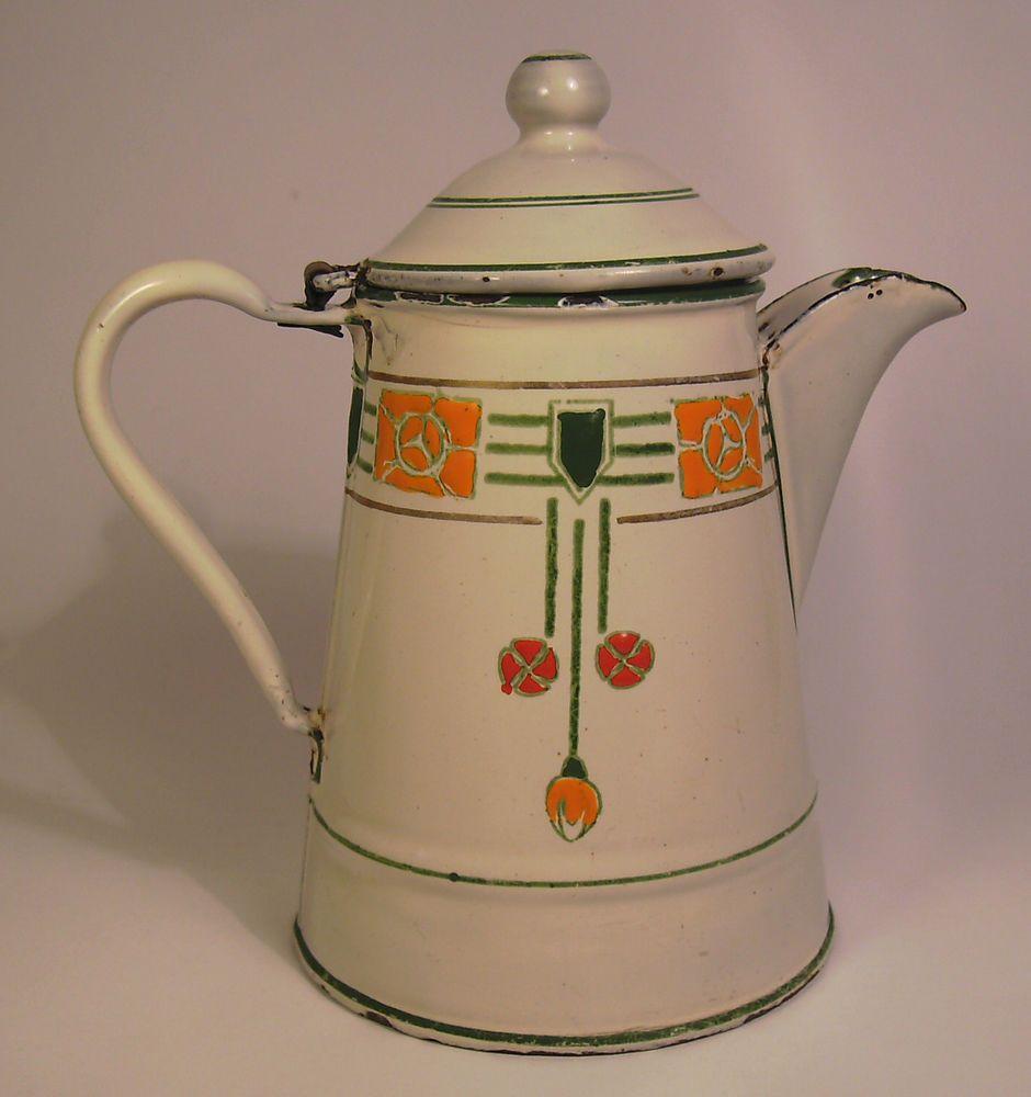 Traumhafte, Emaillierte Kaffeekanne Aus Der Zeit Um 1905