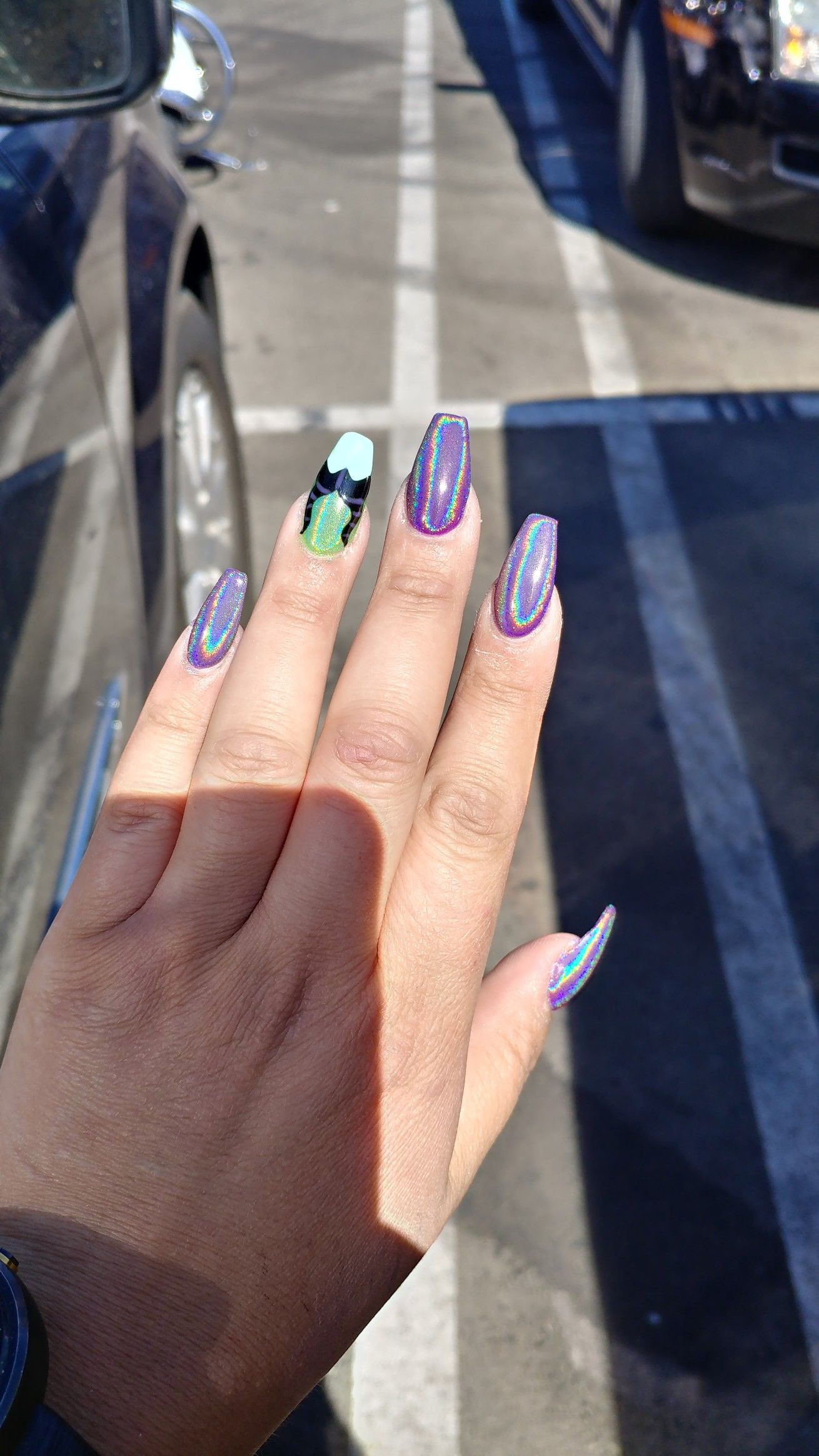 Holographic Maleficent Nails Maleficent Disney Disney