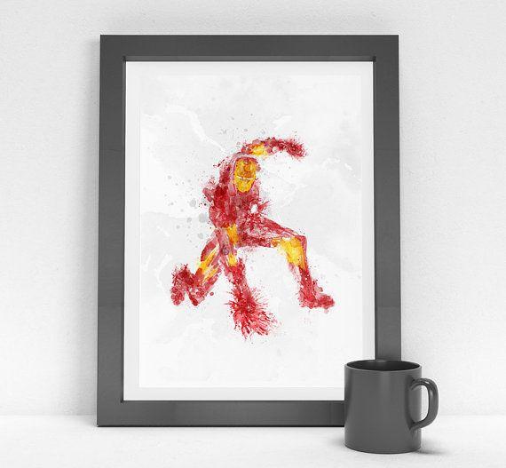 Iron Man - the Avengers - Superhero Marvel Comic Watercolor Painting Print