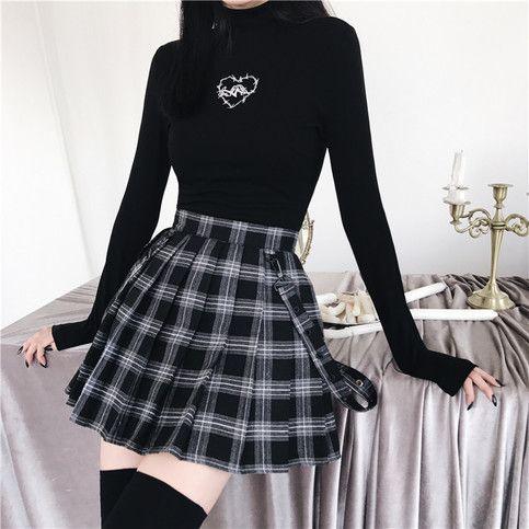 Autumn Winter Harajuku Gothic Black Gray Plaid Skirts Shorts Women'S Pleated Skirt Short Punk Girl'S Skirt Short