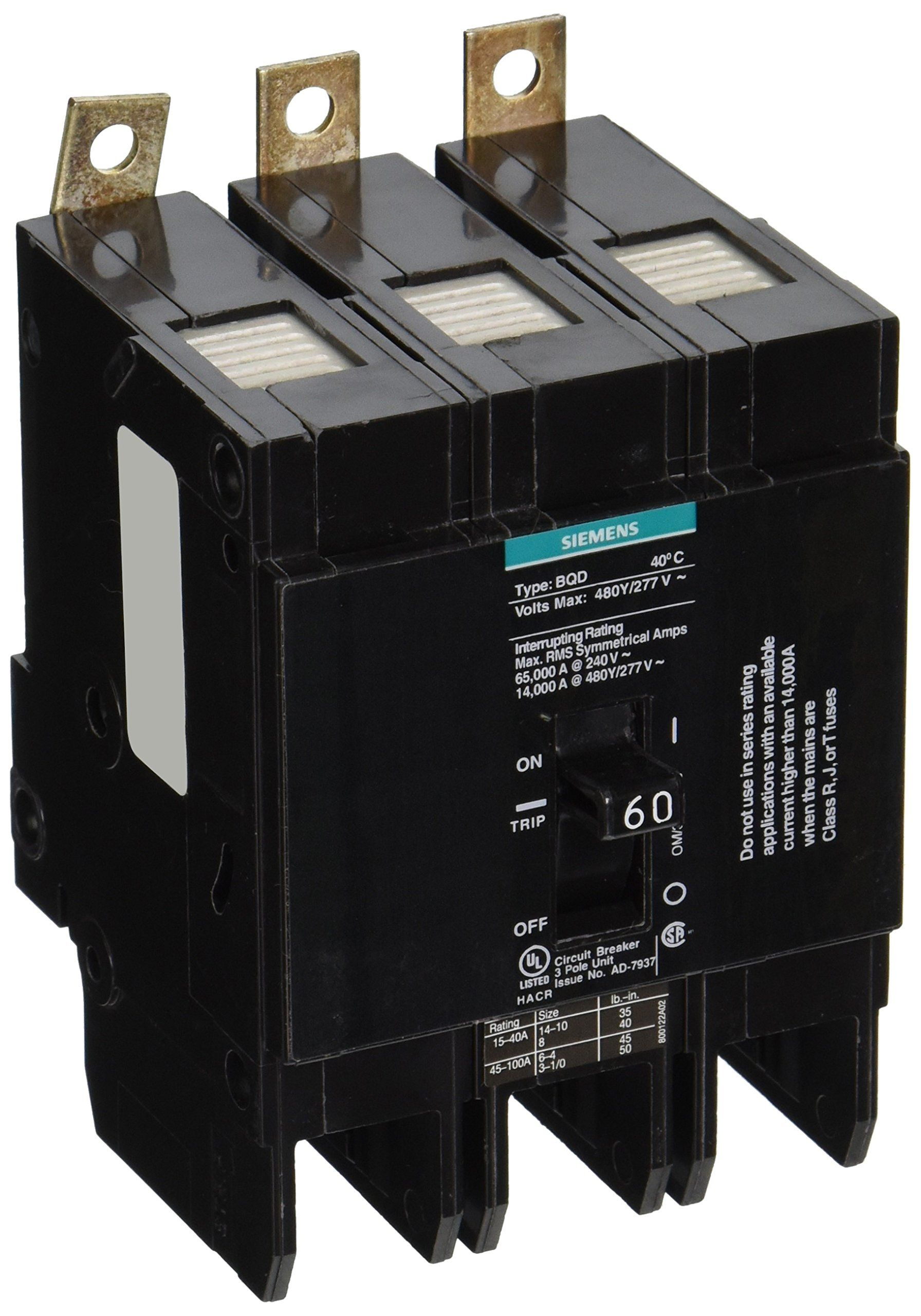 Siemens Bqd360 60amp Three Pole 480y 277v Ac 14kaic Bolt In Breaker Be Sure To Check Out This Awesome Product This Is A Siemens Breakers Pole Construction