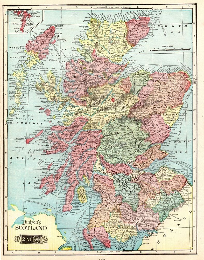 1906 antique scotland map original vintage map of scotland 3670