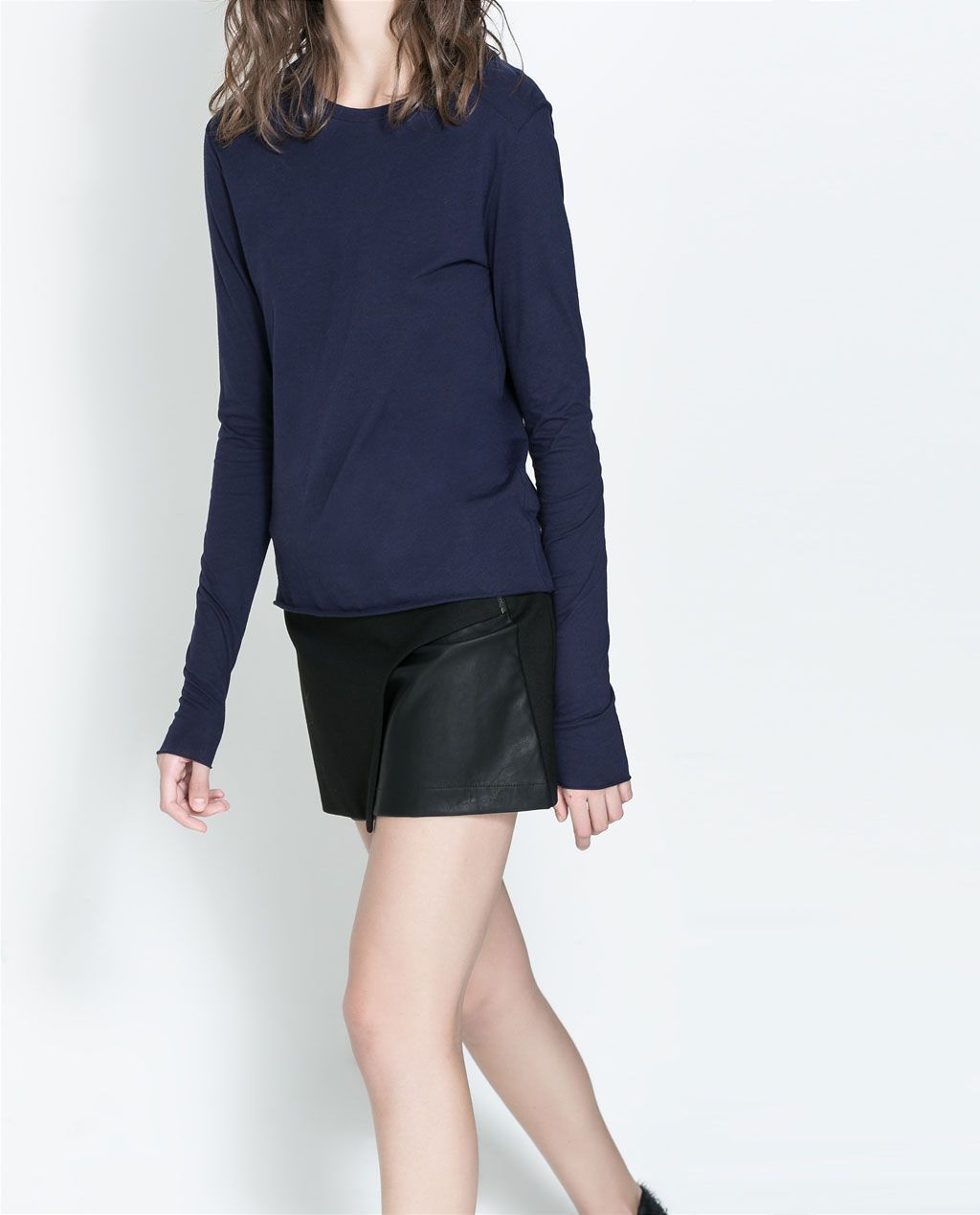 ZARA - NEW COLLECTION - FAUX LEATHER COMBINATION SKIRT