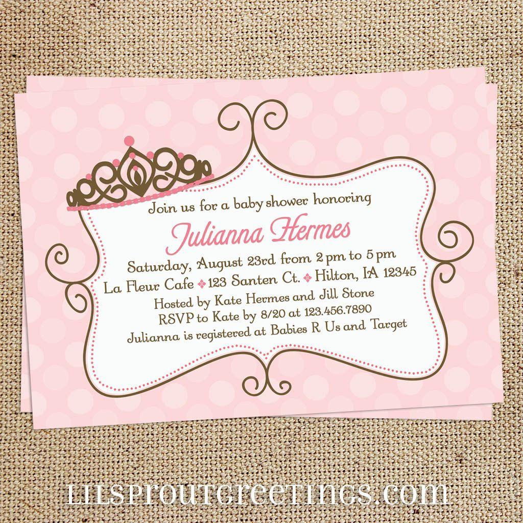 Pink Princess Girl Baby Shower Invitation, Princess Baby Shower ...