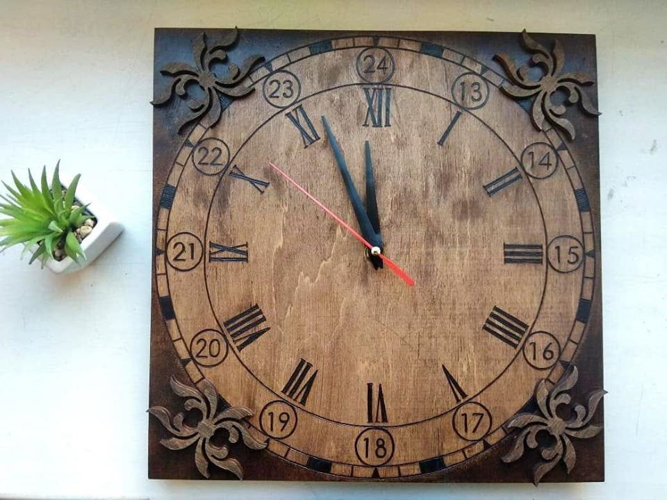 Wooden Wall Clock Home Decor Personalized Watch With Your Text Original Watches Using Pyrography Techn In 2020 Wall Clock Gift Wall Clock Personalized Wall Clock
