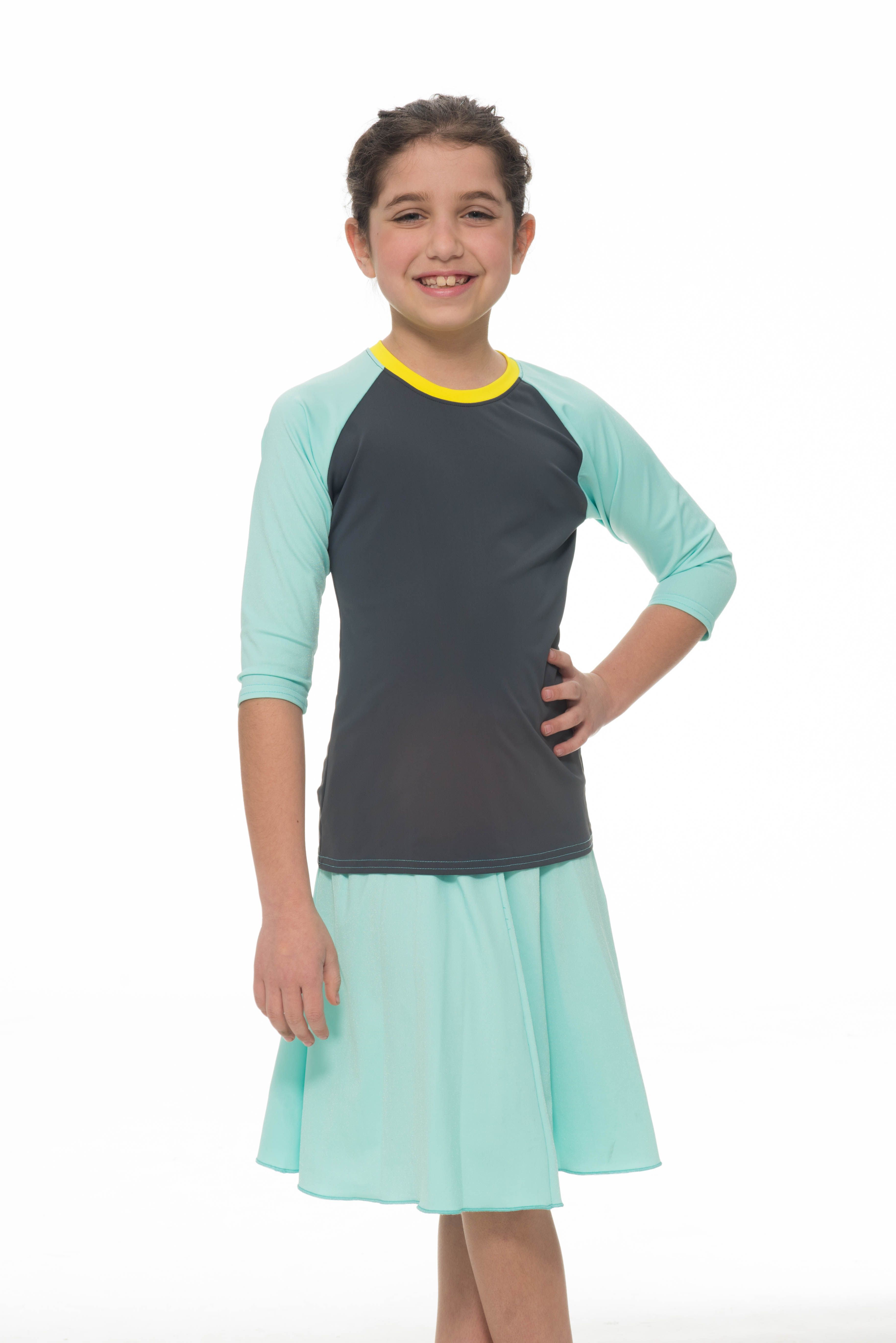 df9c846657e81 ... cutest and coolest color combos i have found online. great variations  in style options too- diff. skirts, dress, etc. Girls Aqua Baseball FLAIR  Swim Set