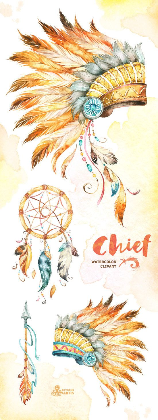 this set of high quality hand painted native american clipart in high resolution included feathered war bonnets dreamcatcher and arrow perfect [ 550 x 1456 Pixel ]