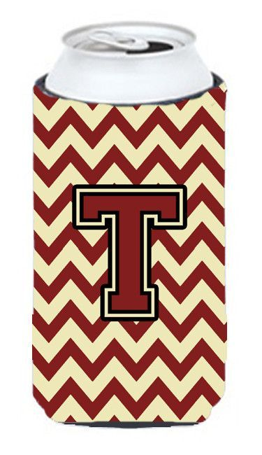 Letter T Chevron Maroon and Gold Tall Boy Beverage Insulator Hugger CJ1061-TTBC