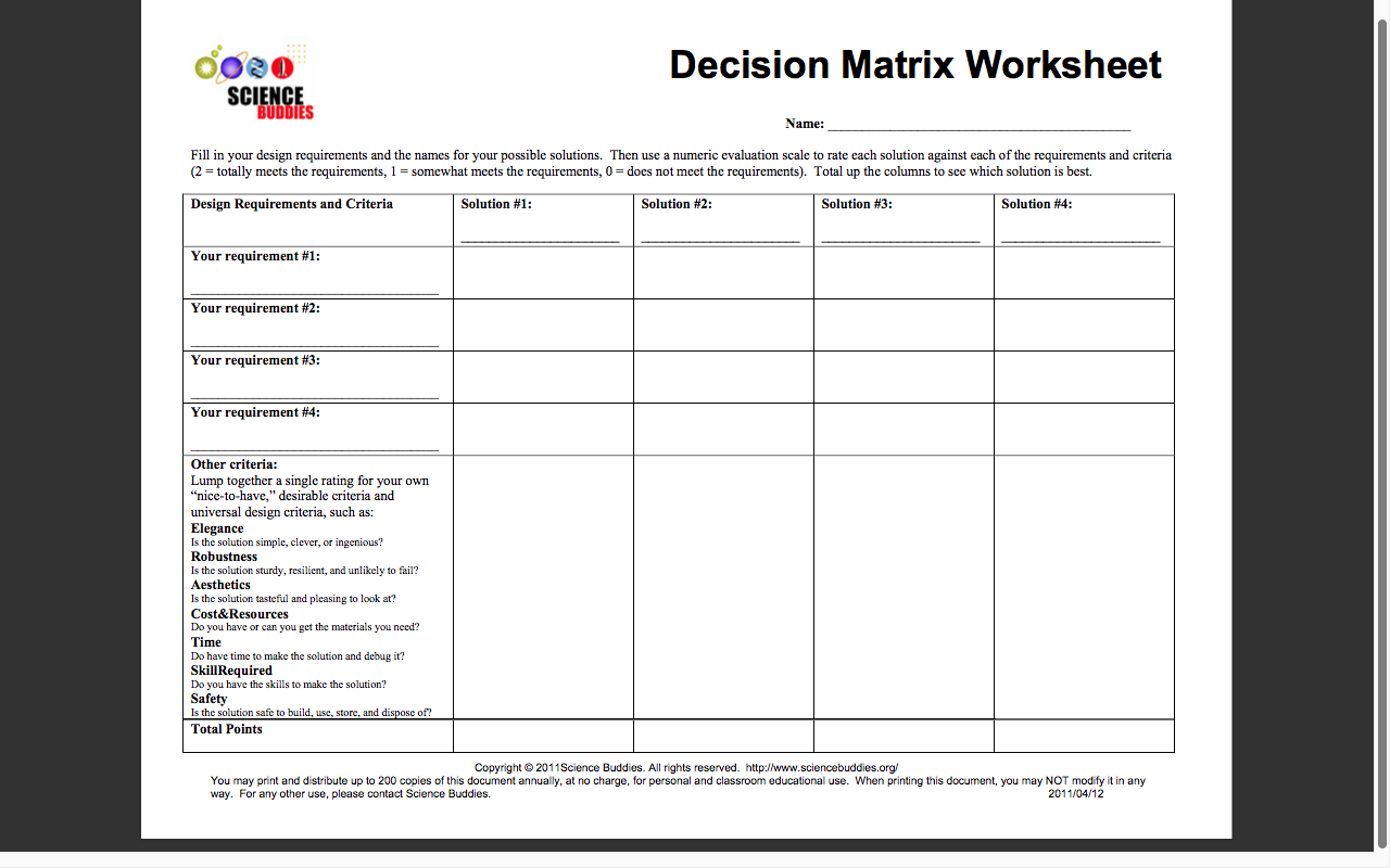 Worksheets Decision Making Skills Worksheets 5 6 dt actdek023 decision making matrix useful for comparing tools