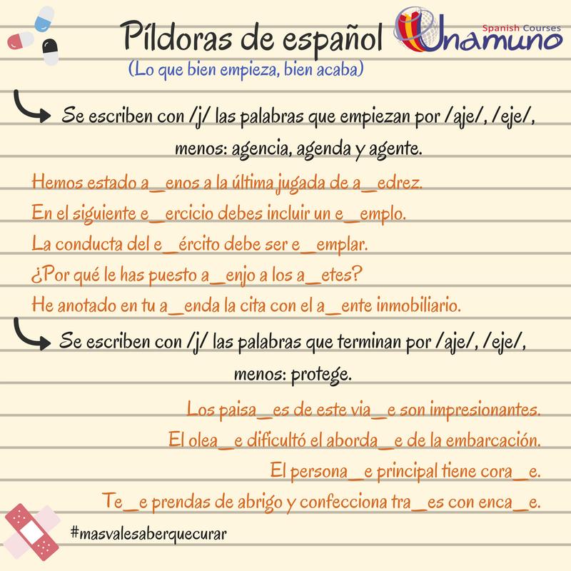Regla Ortográfica Para Las Palabras Que Empiezan O Acaban Por Aje Eje Y Frases Para Practicar Aprender Español Reglas Ortograficas Cursillo