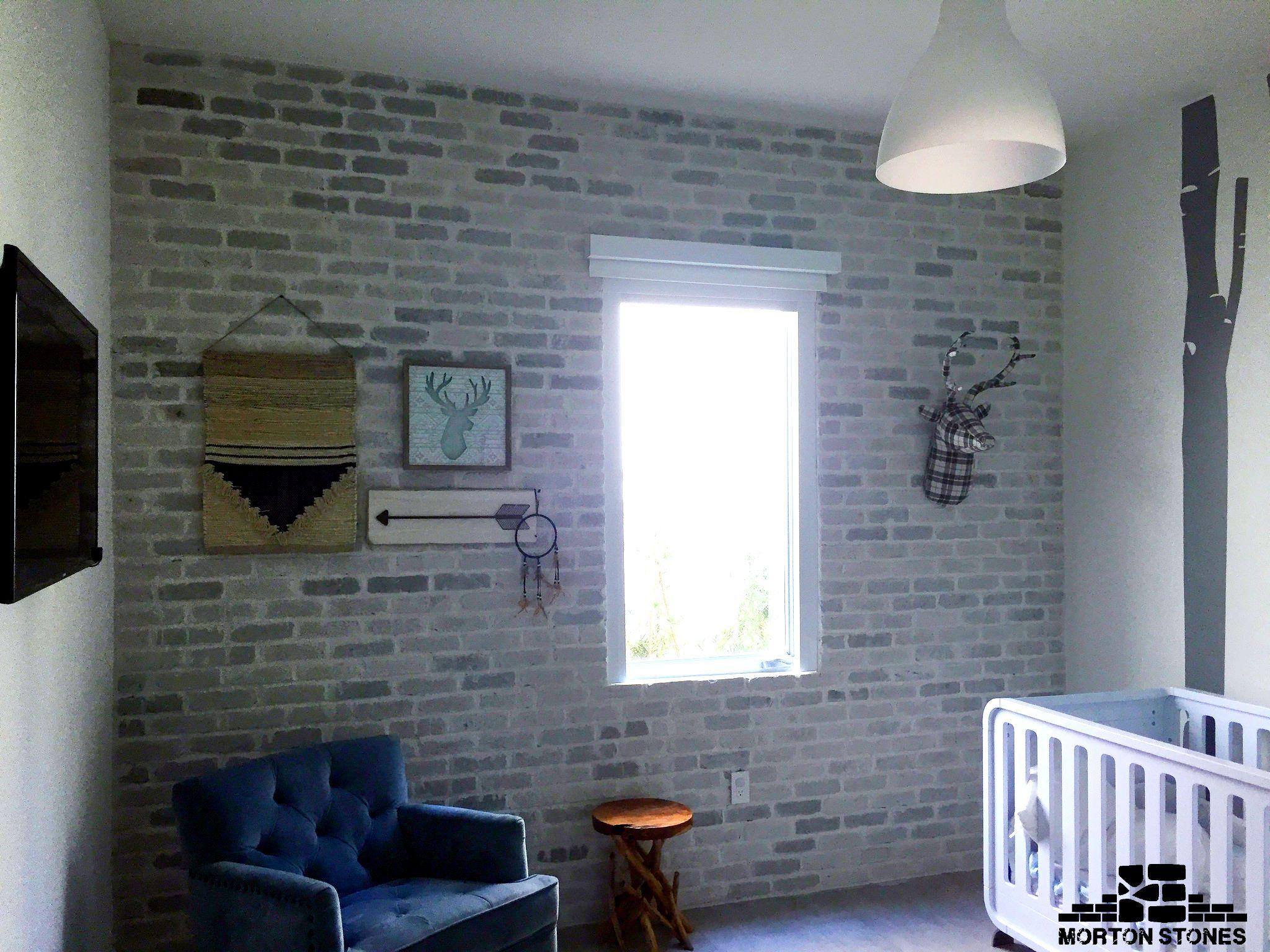 A Whitewashed Brick Veneer Wall In A Child S Bedroom Mortonstones Brick Tiles Rustic Home Decor Brickv Brick Veneer Wall White Wash Brick Brick Veneer