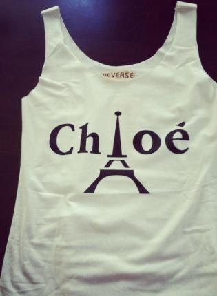 White Chloe in Paris Tank Top,  Top, tank top  screen print  paris, Chic