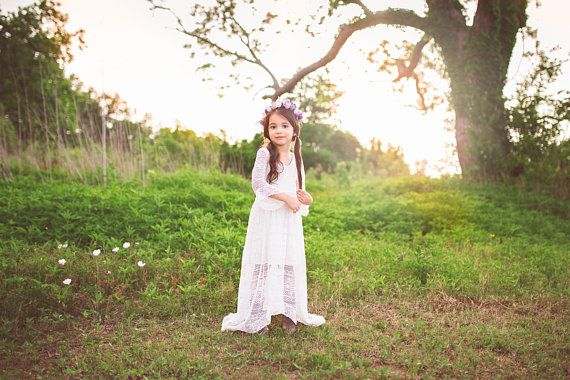 4dc96a0f89d Flower Girl White Lace Maxi Dress Bell Sleeves Girl Toddler Boho Shabby  Chic High Low Dresses Bohemian First Communion Baptism Dress Lana