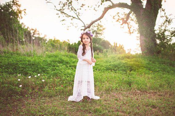 95632cd36f7 Flower Girl White Lace Maxi Dress Bell Sleeves Girl Toddler Boho Shabby  Chic High Low Dresses Bohemian First Communion Baptism Dress Lana