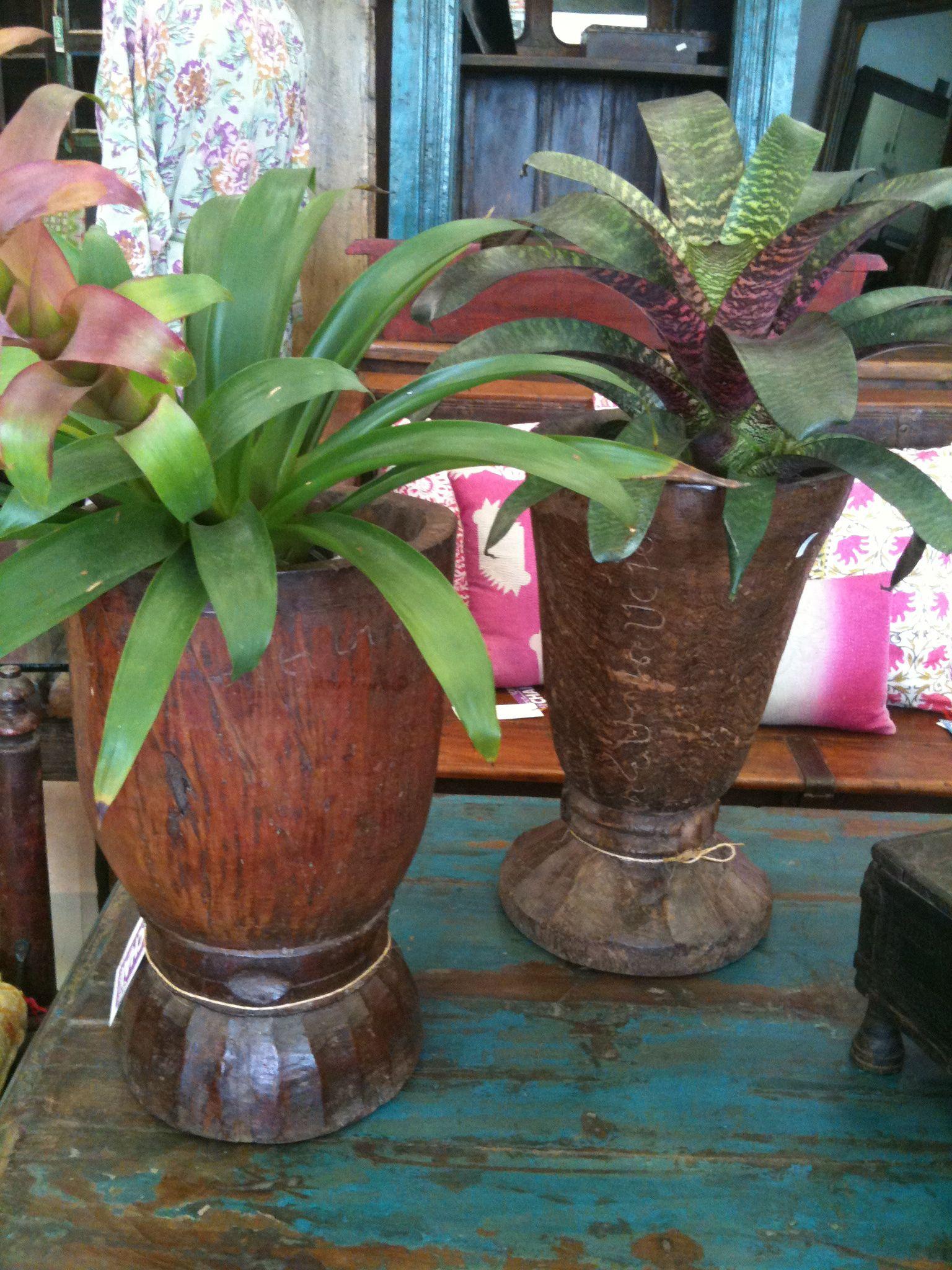 old mortars make great planters