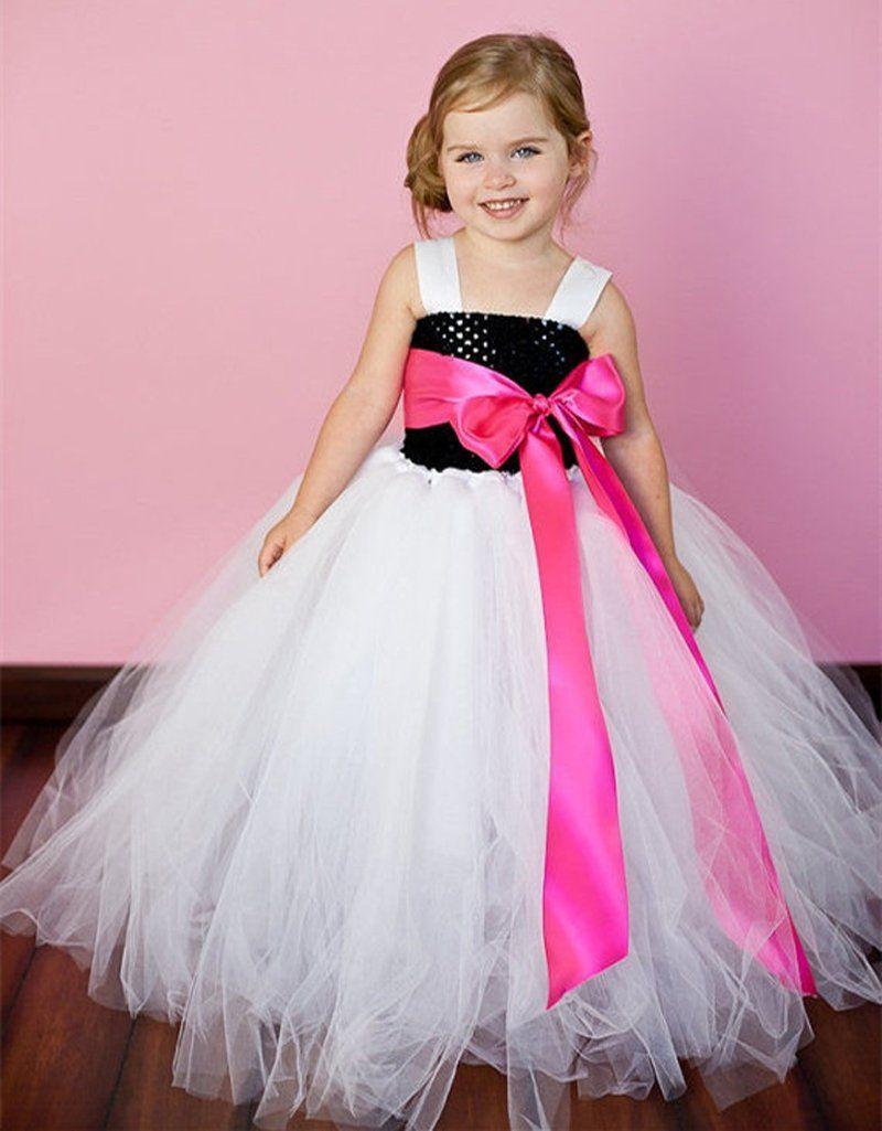 Latest solid color flower girls tutu dress kids tulle dress for