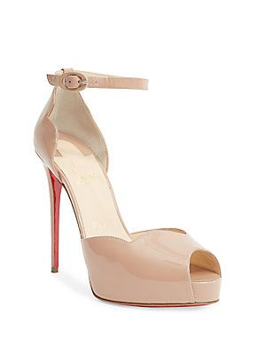 68b68e16a20 Christian Louboutin Aketata 120 Patent Leather Peep Toe Sandals ...