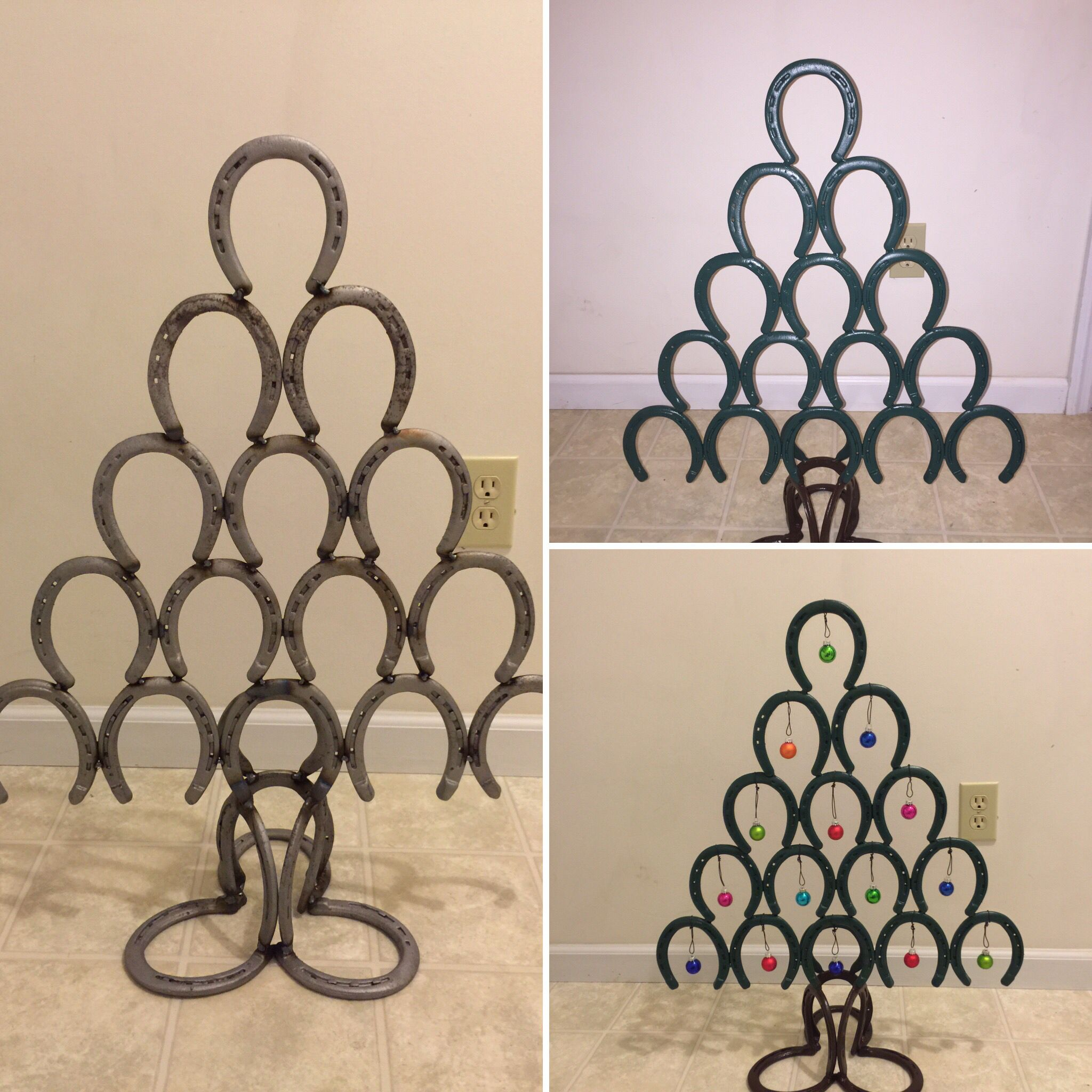 Christmas tree made from horseshoes.
