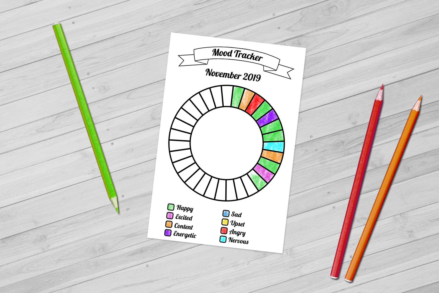 Monthly Mood Tracker Wheel Editable Printable For