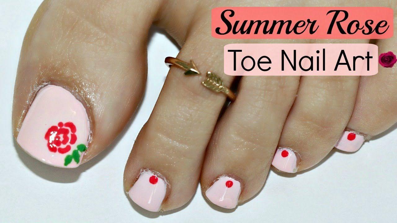 Easy Summer Rose Toe Nail Art Tutorial Nails Nailart