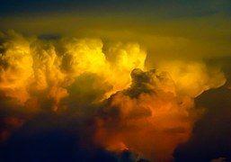 Nubes, Cielo, Orange, Blanco, Gris