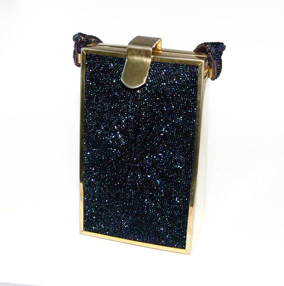 Tyrolean New York Iridescent  Blue Carnival Glass Beaded Handbag Dense Floral Design Gold Tone Accents Collectors Piece