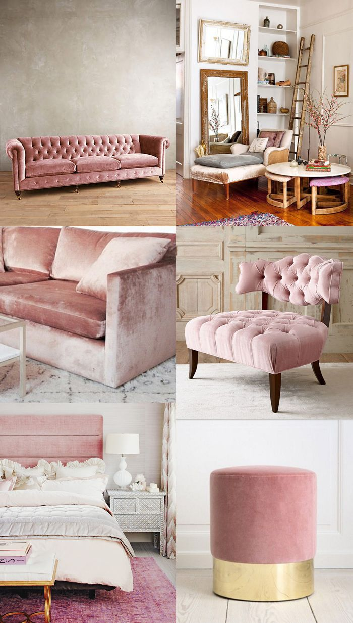 Home decor trend velvet cocorosa living dining Pink room with white furniture