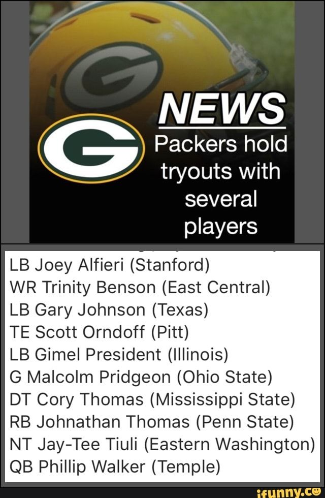 NEWS Packers hold tryouts with several players LB Joey ...