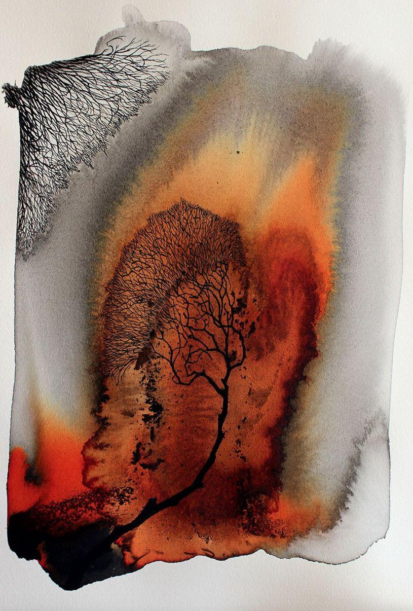 Pablo S Herrero Aquarelle Abstraite Peinture D Arbre Abstrait