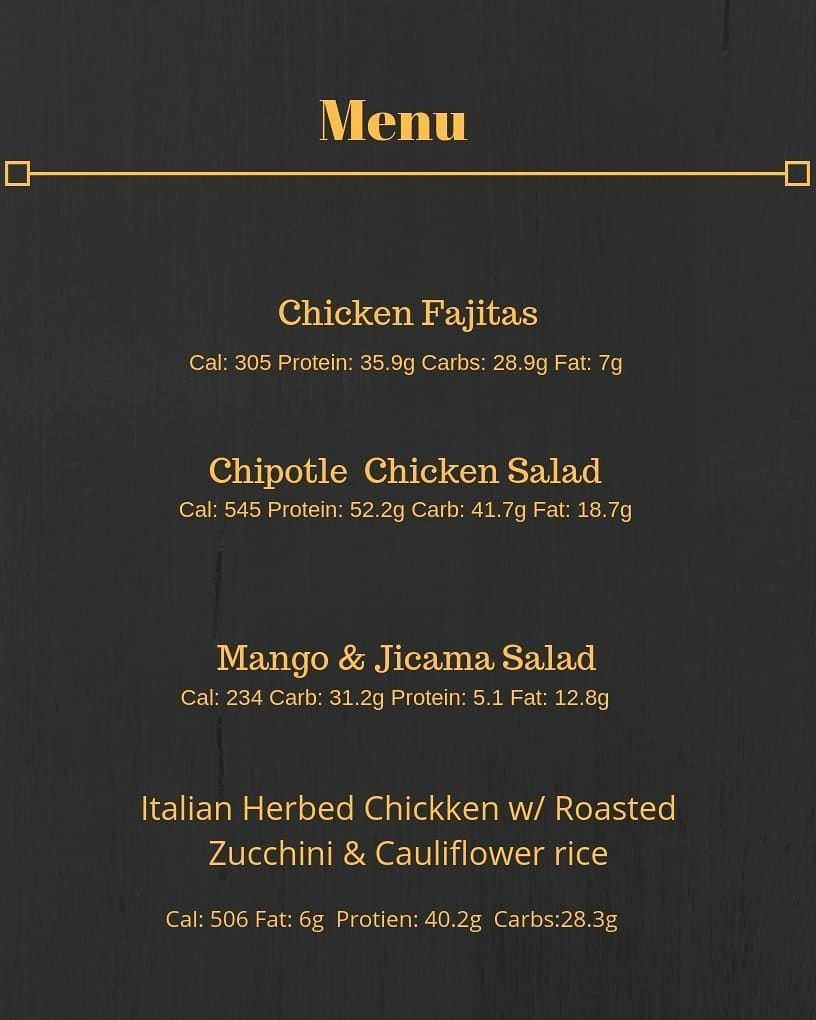 New menu up for next week  meals are $9 each. DM for your order. Order by Friday and have your meal...