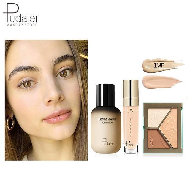 Pudaier Face Foundation Make-up Set Liquid Foundation Creme Matt Highlighter Base Gesicht ALL Concealer Cosmetic Professional Base – 1WF