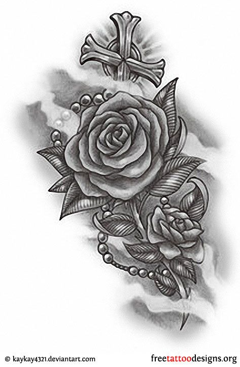 Grey Ink Gothic Roses With Cross Tattoo Design Red And Black