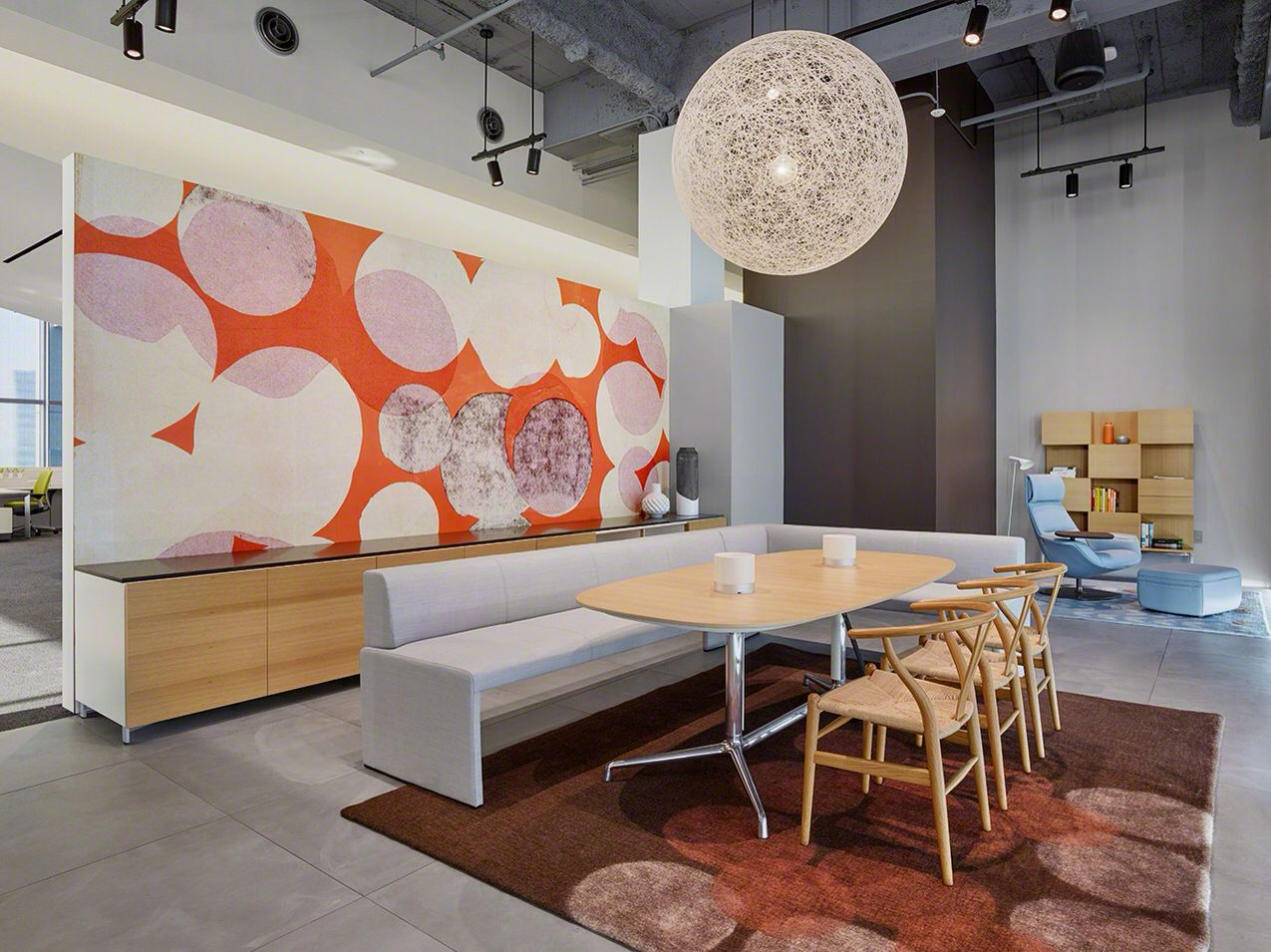 Together Bench And Wishbone Chairs At The Steelcase Work