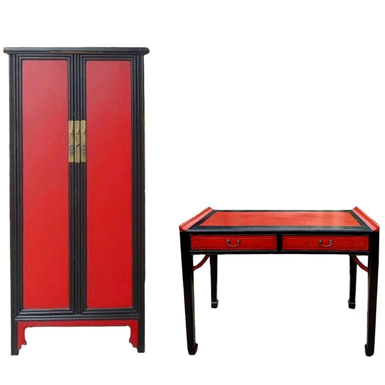 Asian Desk And Chest, Red And Black Lacquer, Ming Style