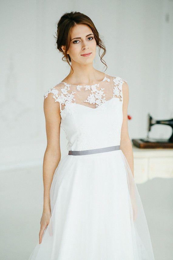 Boho wedding dress Wedding dress Romantic Wedding Dress Short Sleeve ...