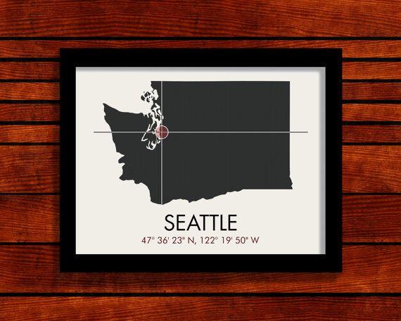 Seattle Latitude Longitude Map Art City Print 11 X 14 City Prints Map Art Modern Map