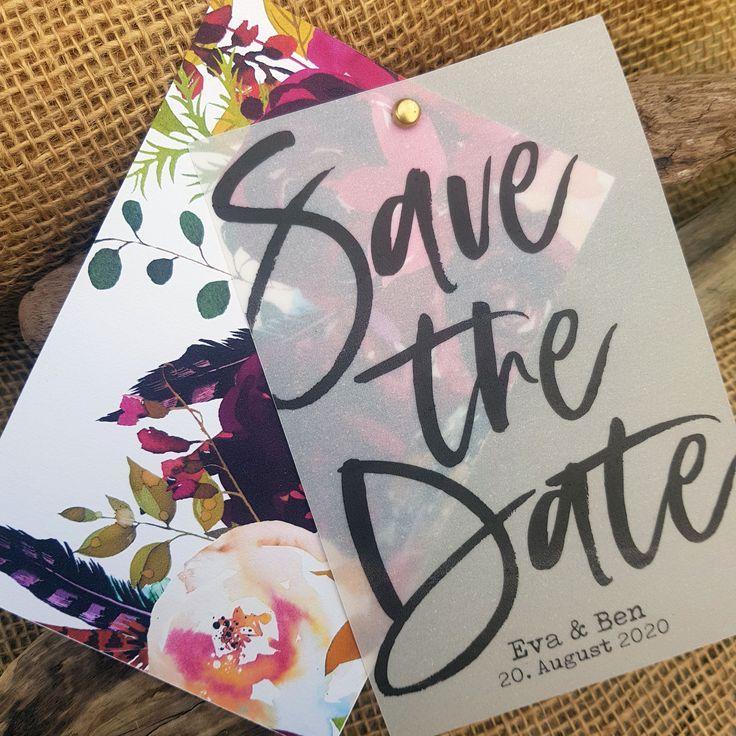 Save the date Karte zur Hochzeit aus Transparentpapier mit eigenem Foto oder Grafik  vintage boho klassisch personalisiert