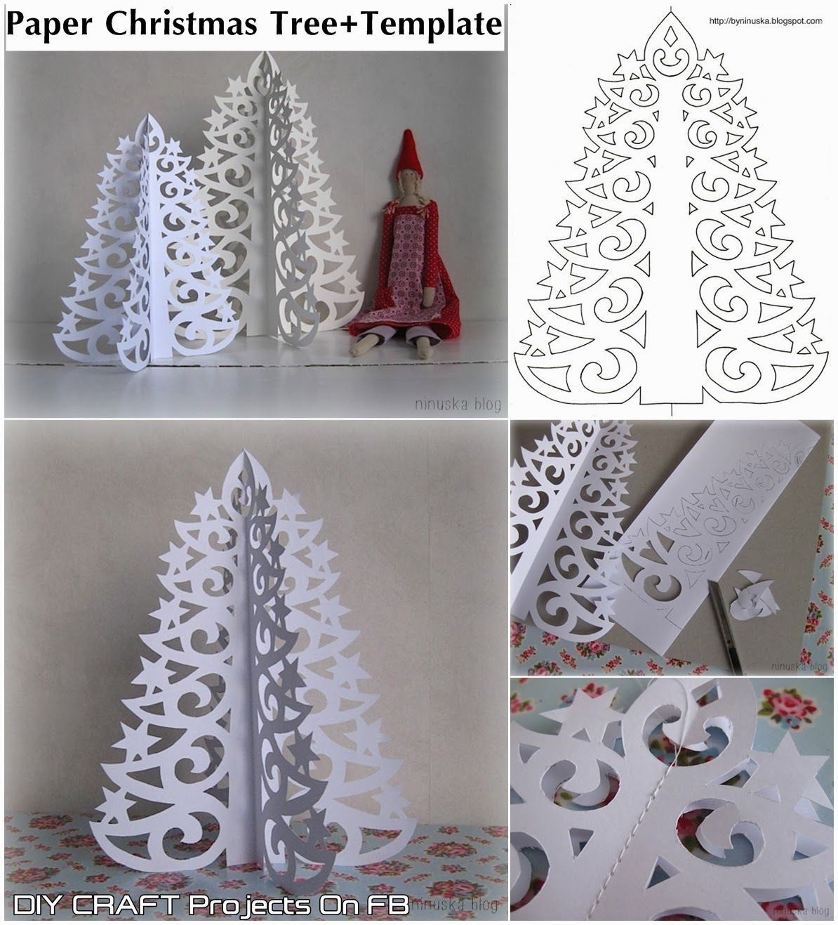 Paper christmas tree with printable template step by step for Decoration paper