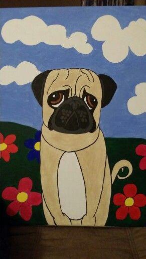 #canvas #pug #acrylic #art #paint #paintin #diy