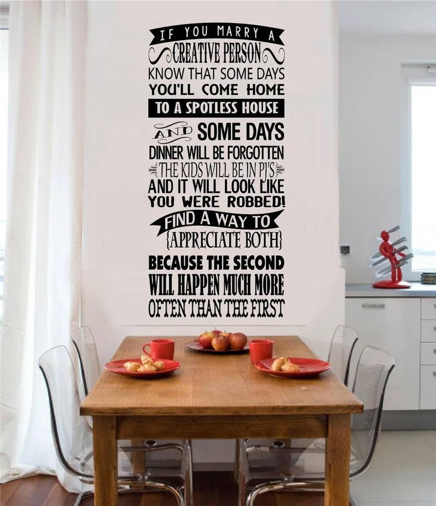 If you marry a creative person vinyl decal wall sticker words