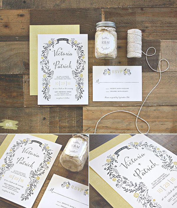 Sweet Floral Wedding Invitations by Jennie Hake | Elli.com