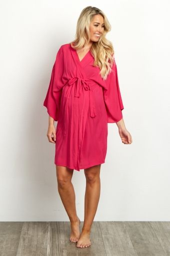 238d9c8930144 Fuchsia Solid Delivery/Nursing Maternity Robe | Future baby ...